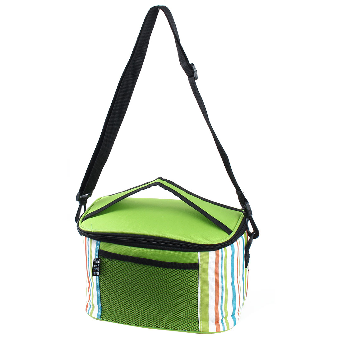 Travel Camping Zipper Closure Lunch Picnic Cooler Box Storage Carry Tote Bag Green