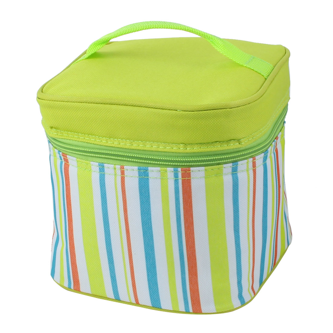 Travel Portable Stripes Design Thermal Cooler Insulated Lunch Box Storage Picnic Bag Tote Pouch Green