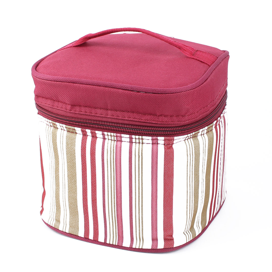 Outdoor Portable Stripes Design Lunch Box Cooler Storage Picnic Bag Tote Pouch Burgundy