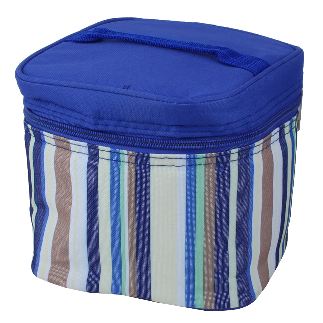 Portable Stripes Design Thermal Cooler Insulated Lunch Box Storage Picnic Bag Tote Pouch Blue