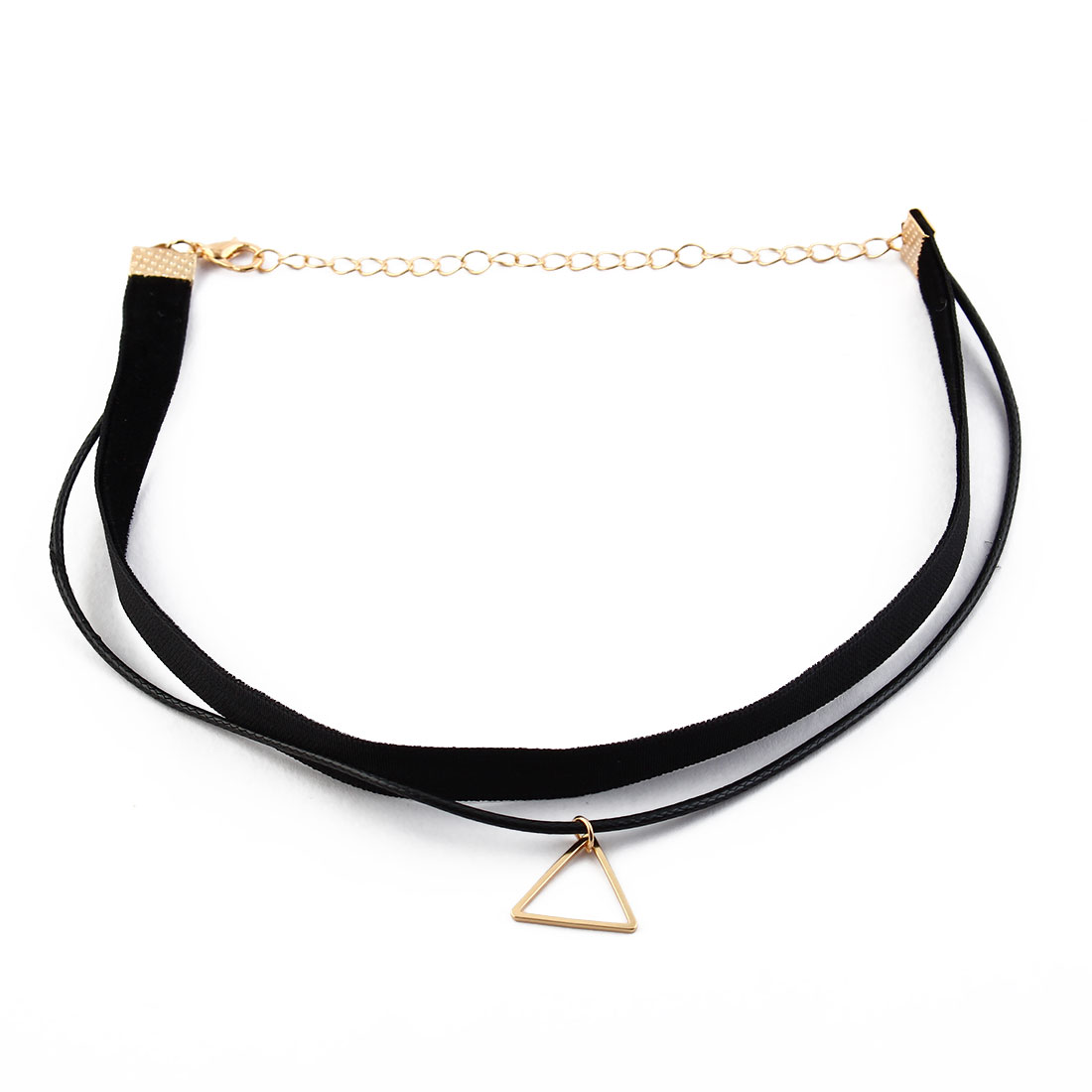 Women Ladies Faux Leather Triangle Pendant Adjustable Choker Necklace Neck Chain Black