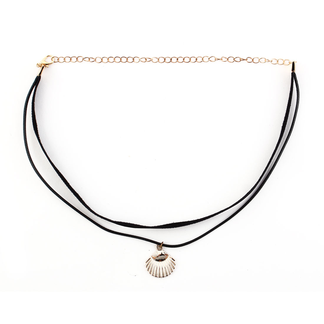 Women Ladies Faux Leather Shell Pendant Adjustable Choker Necklace Neck Chain Black