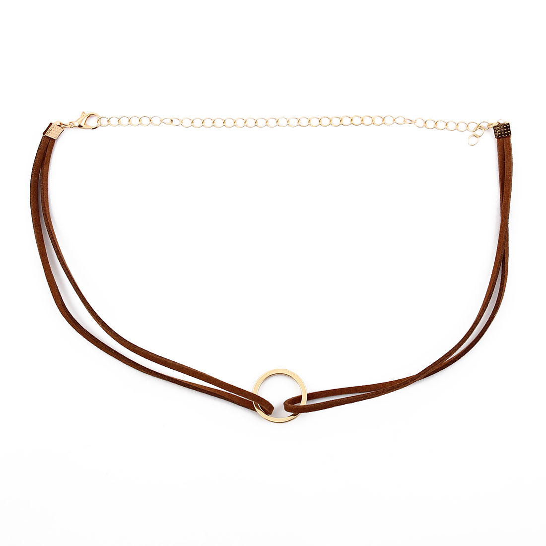 Women Lady Faux Leather Ring Decor Adjustable Choker Necklace Neck Chain Brown