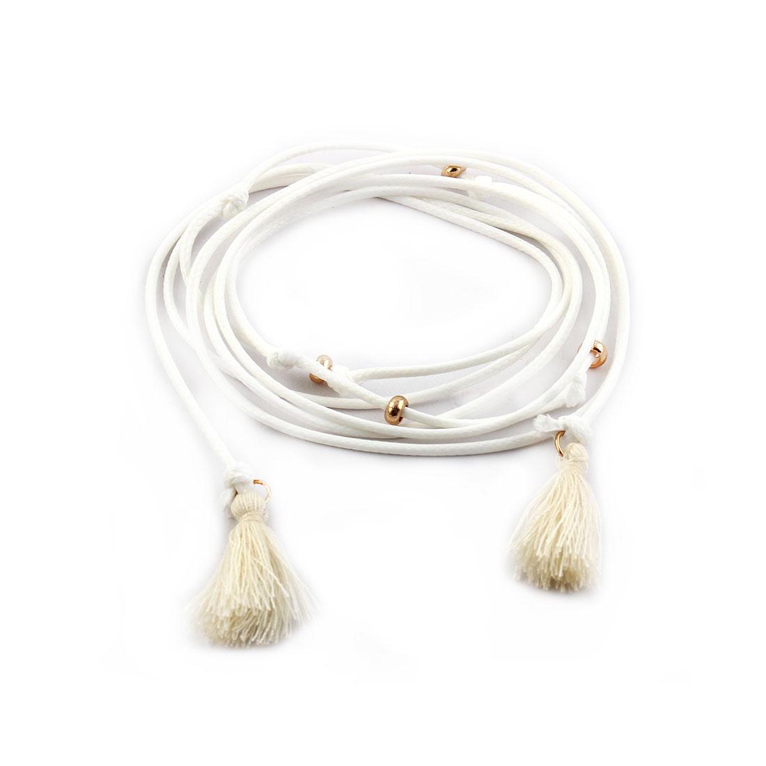 Women Lady Nylon Tassel Decor Adjustable Choker Necklace DIY Neck Chain White
