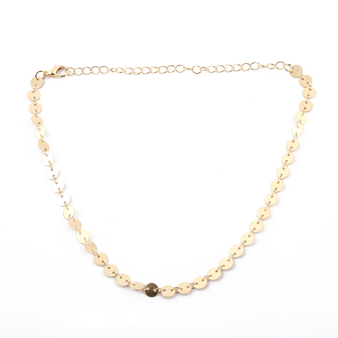 Women Lady Metal Sequins Decor Adjustable Choker Necklace Neck Chain Gold Tone
