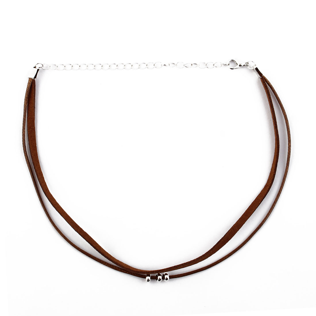 Women Lady Nylon Beads Decor Lobster Clasp Adjustable Choker Necklace Neck Chain Brown