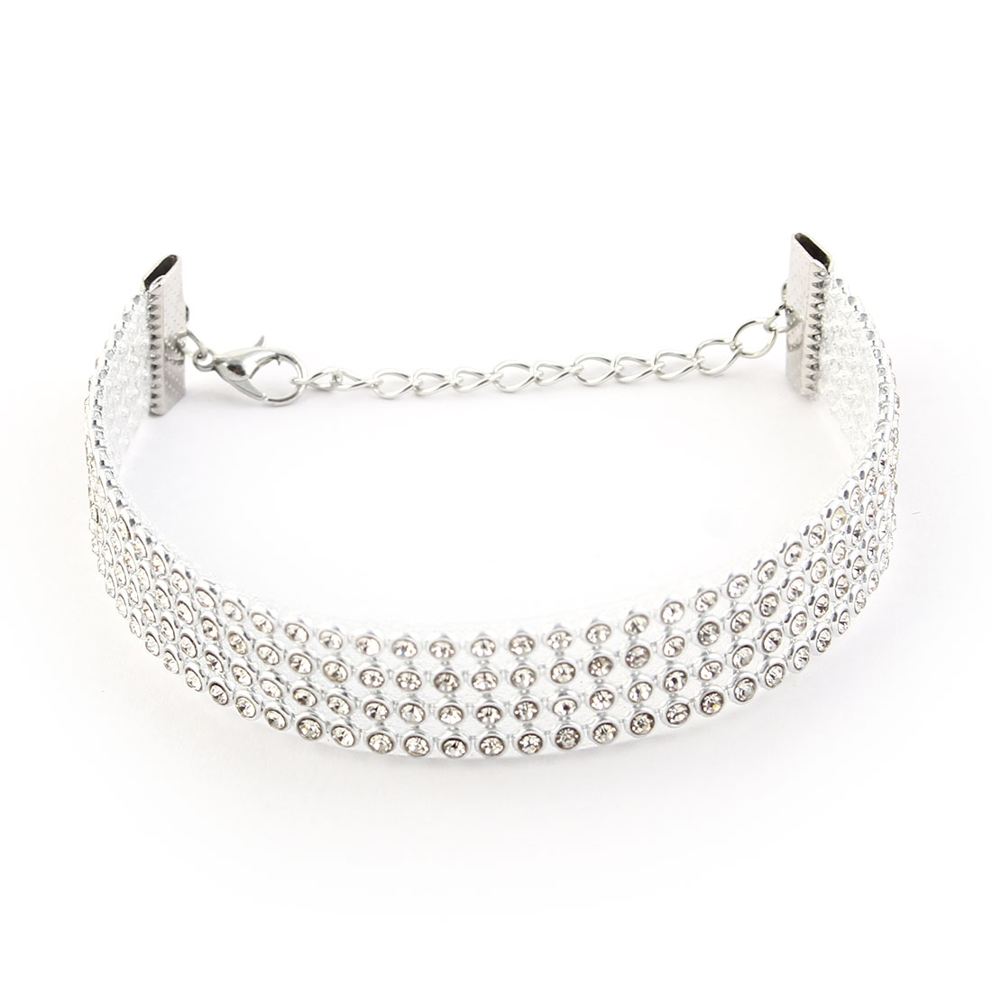 Women Ladies Acrylic Faux Rhinestones Decor Adjustable Hand Chain Bracelet White
