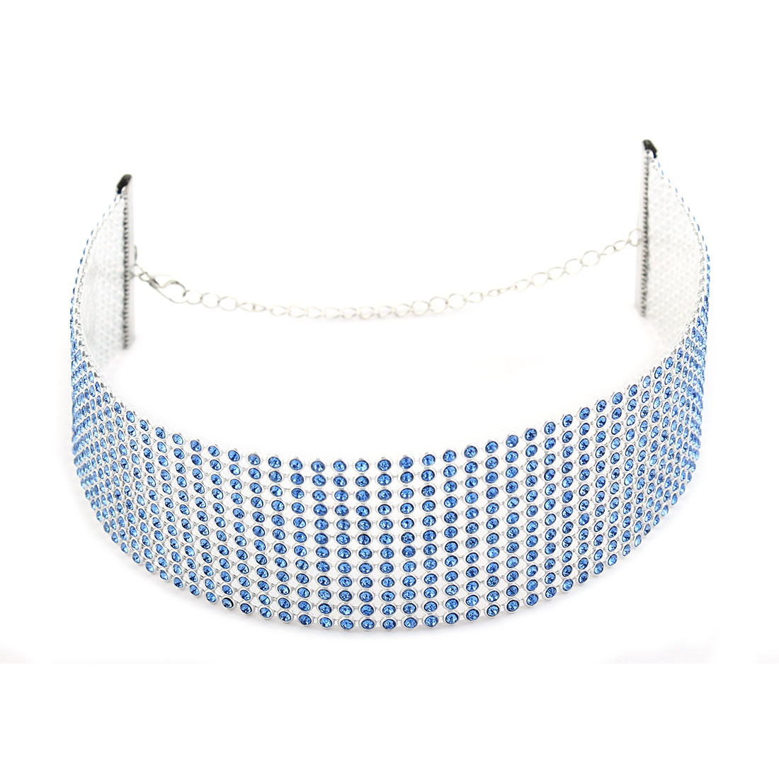 Women Lady Acrylic Faux Rhinestones Decor Lobster Clasp Neck Chain Choker Necklace Blue