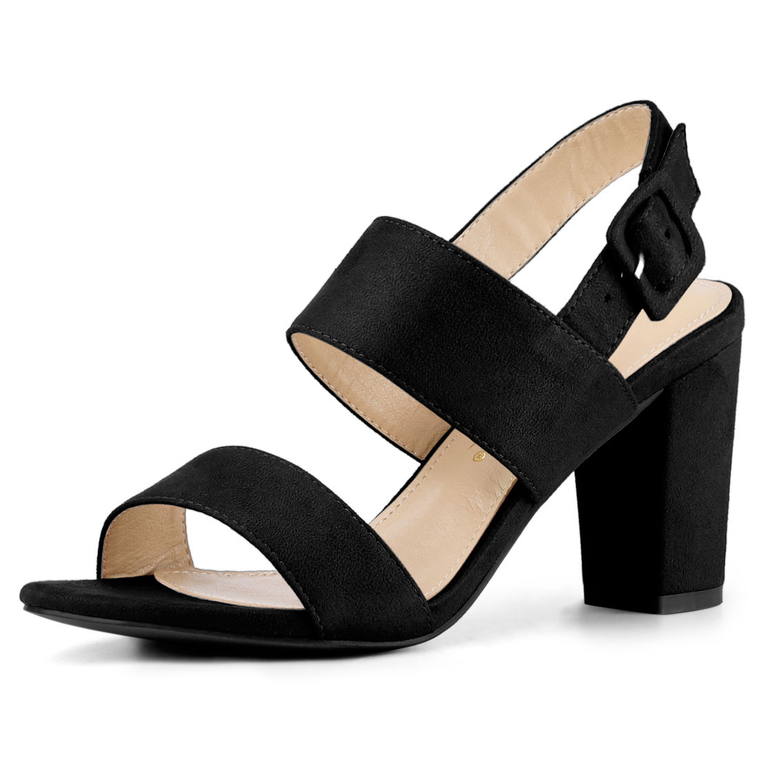 Women Open Toe Slingback High Block Heel Sandals Black US 7