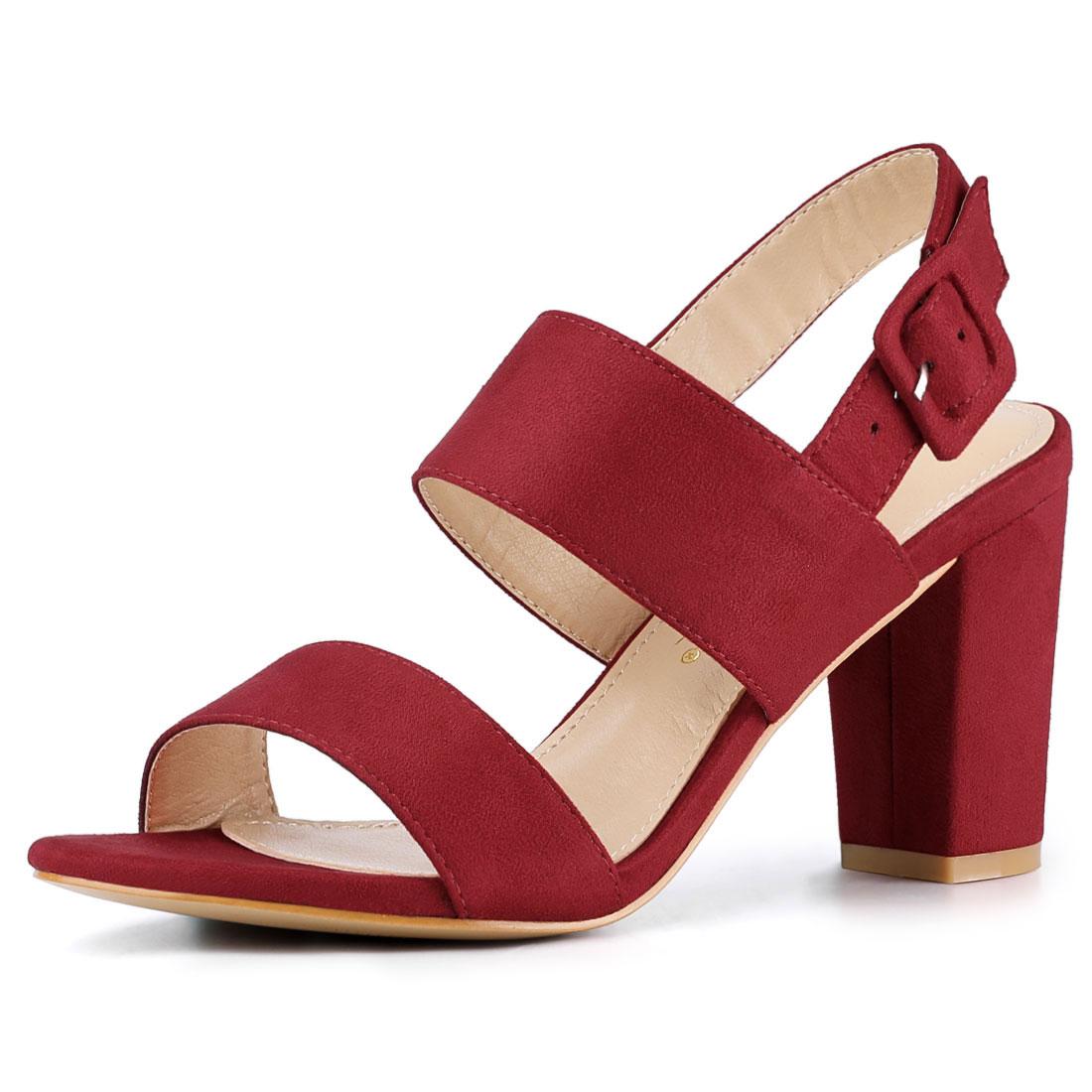 Women Open Toe Slingback High Block Heel Sandals Red US 6