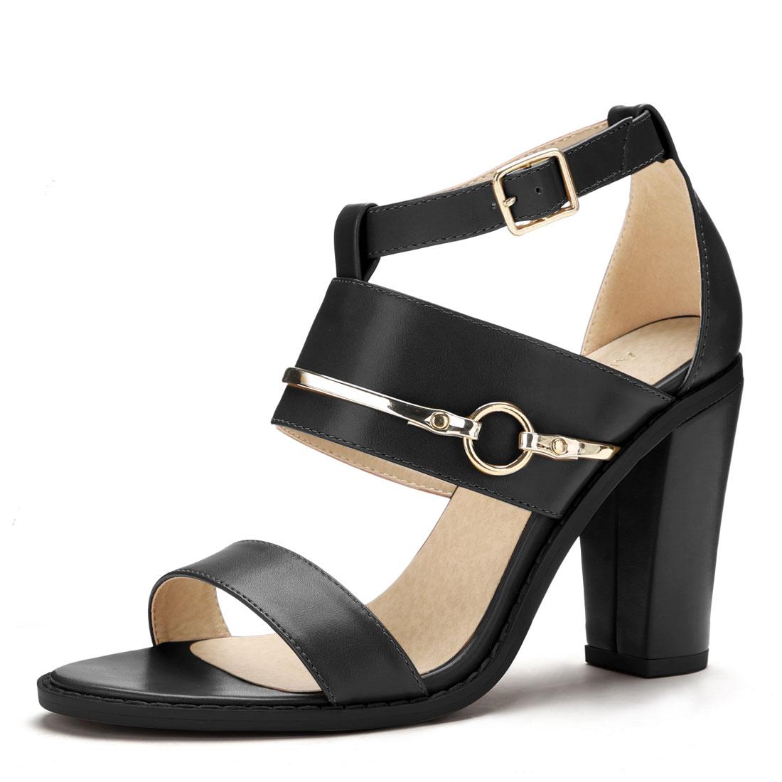 Women Open Toe Chunky High Heel Ankle Strap Sandals Black US 9