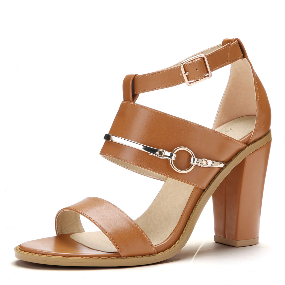 Women Open Toe Chunky High Heel Ankle Strap Sandals Brown US 7.5