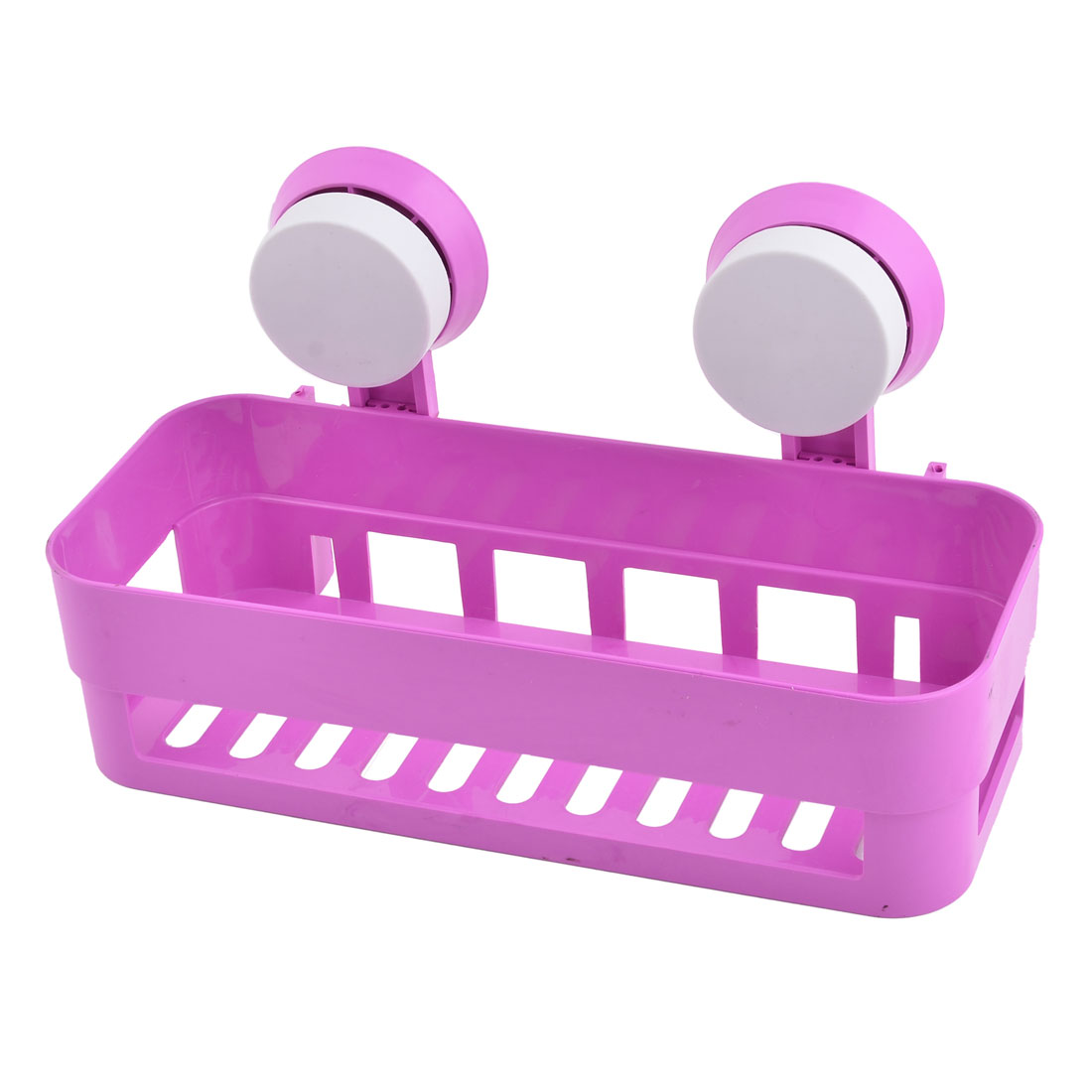 Home Plastic Wall Hanging Soap Brush Storage Suction Cup Shelf Holder Fuchsia