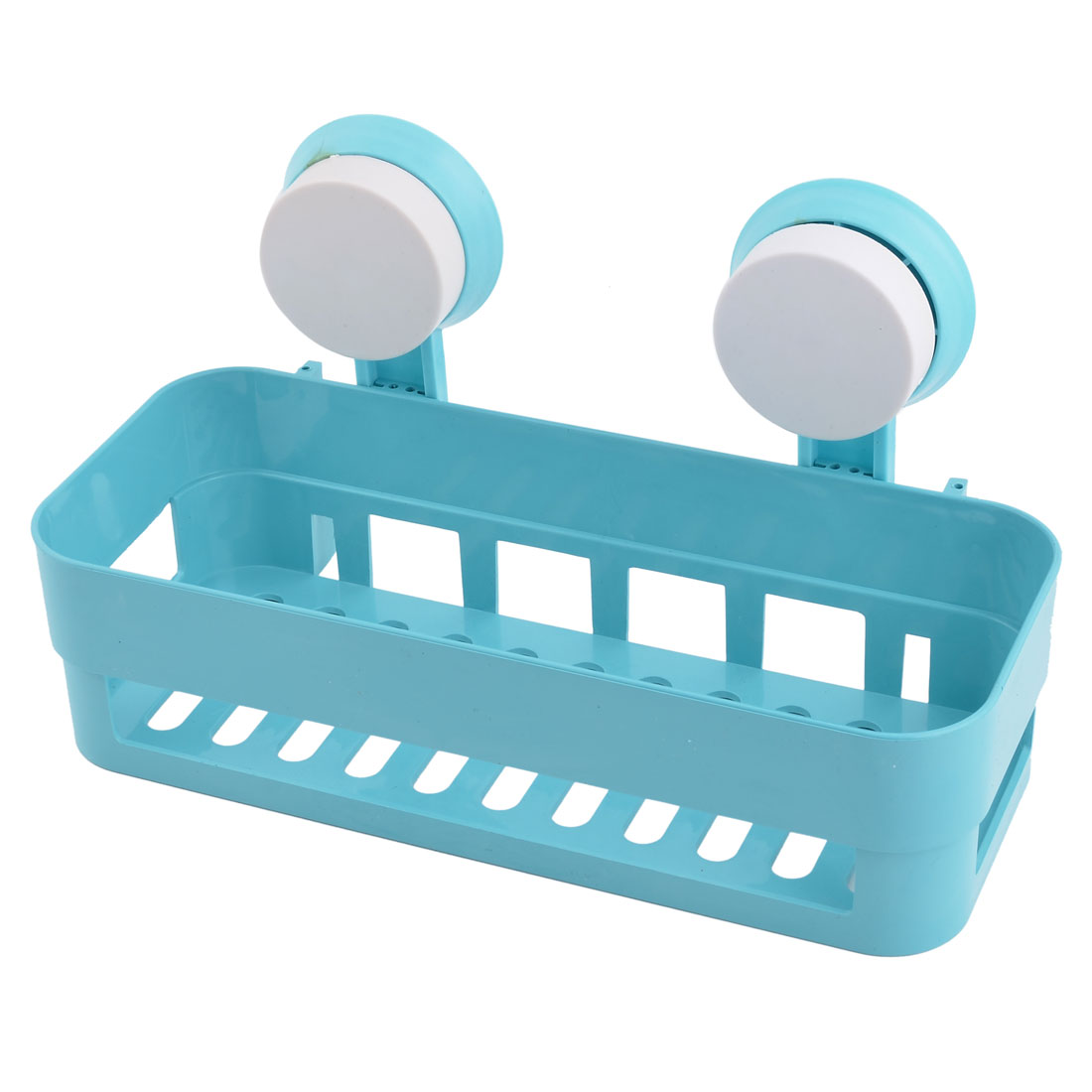 Bathroom Plastic Wall Hanging Soap Brush Storage Suction Cup Shelf Holder Blue