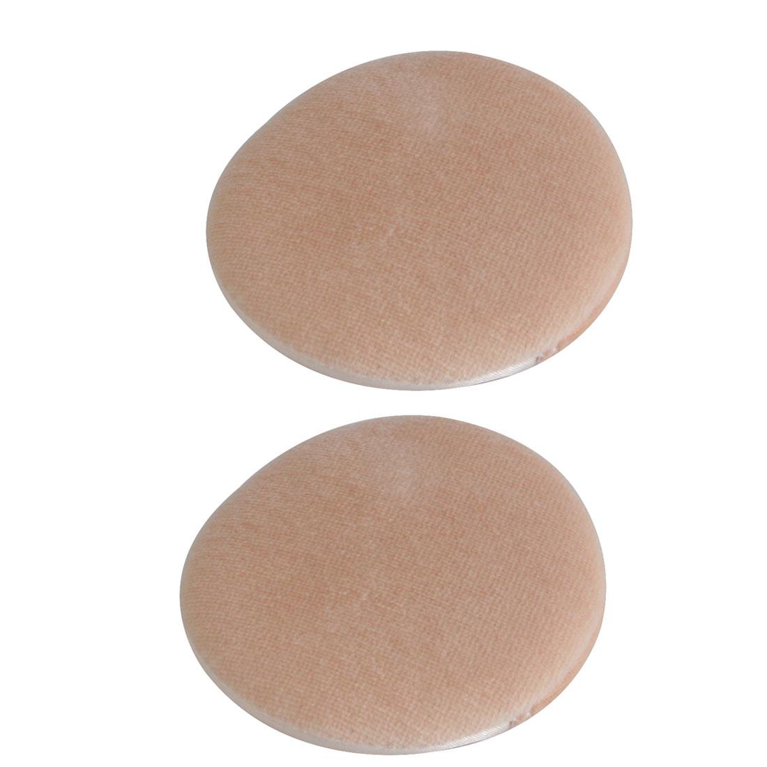 Women Sponge Round Facial Face Cosmetic Makeup Foundation Powder Puff Champagne Color 2pcs