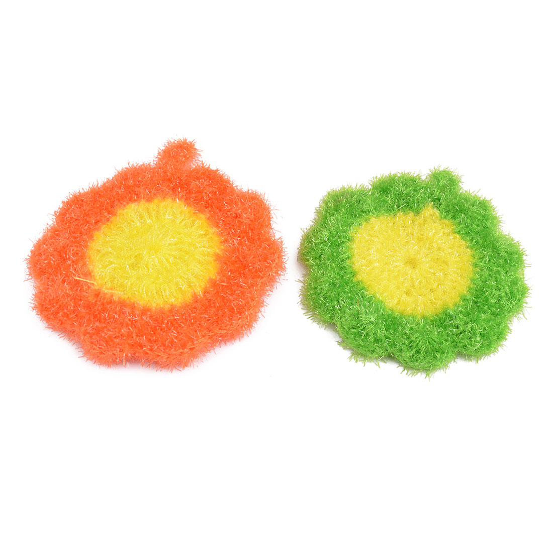 Household Nylon Flower Shaped Kitchenware Bowl Spoon Plate Cleaning Pad Green Orange 2 Pcs