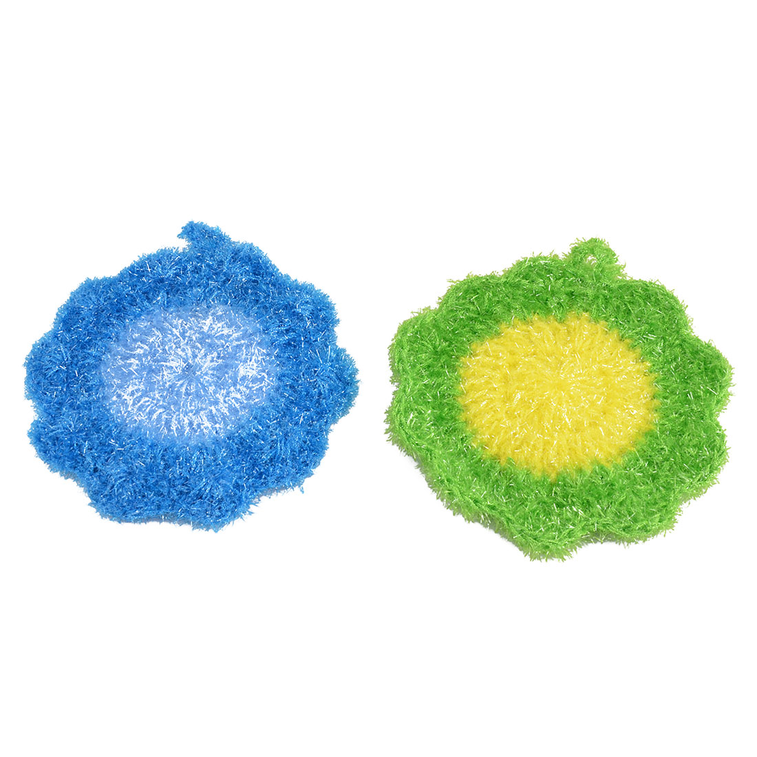 Household Nylon Flower Shaped Kitchenware Bowl Spoon Plate Cleaning Pad Green Blue 2 Pcs