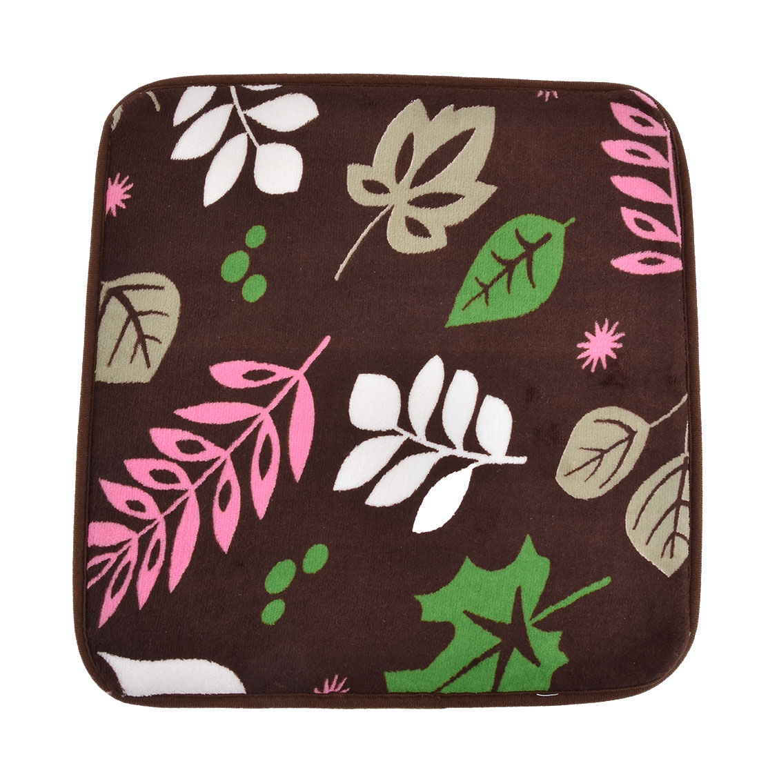 Household Office Coral Velvet Leaf Pattern Soft Chair Seat Decor Pad Cushion 41cm x 40cm