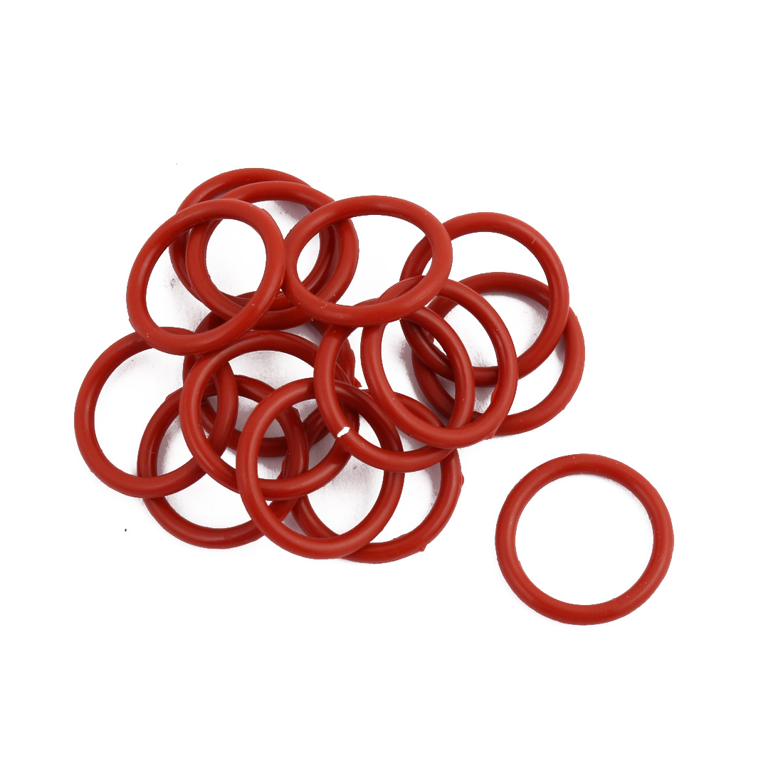 15pcs Red Round Nitrile Butadiene Rubber NBR O-Ring 17mm OD 1.9mm Width