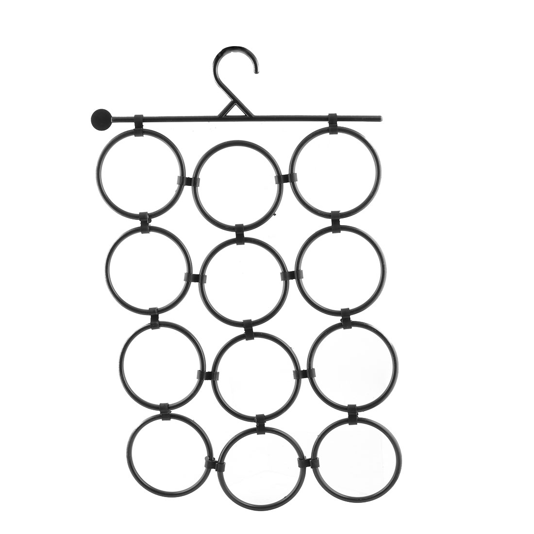Family Plastic 12 Circles Scarf Clothes Socks Towel Rack Holder Hanger Black
