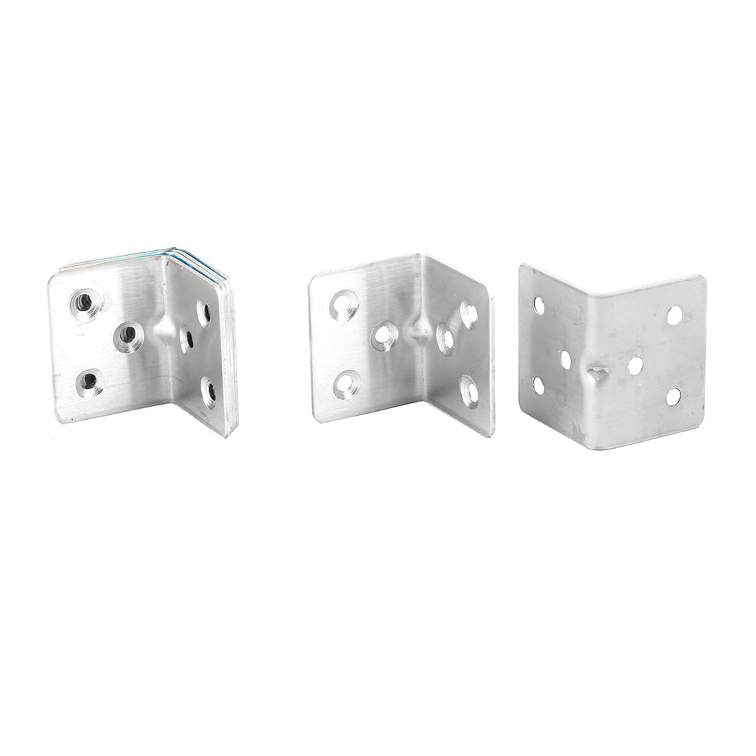 Household Metal L Shaped 6 Holes Fixing Support Angle Bracket Holder Silver Tone 5pcs
