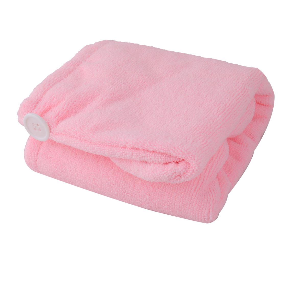 Bathroom Microfiber Stretchy Shower Bathing Hair Wrap Drying Cap Hat Towel Pink