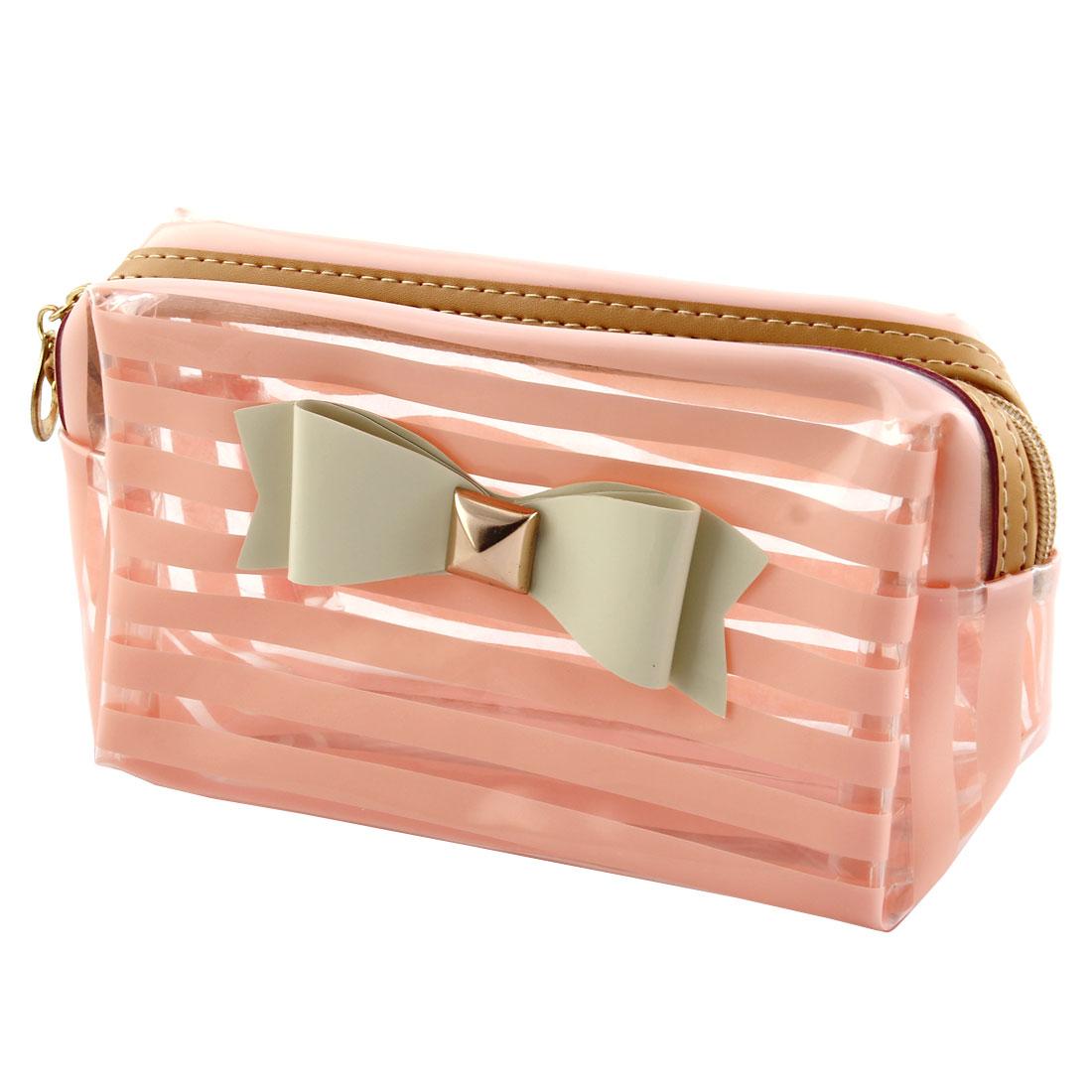 Women Ladies Plastic Bowkont Decor Makeup Bag Cash Pouch Coral Pink Clear