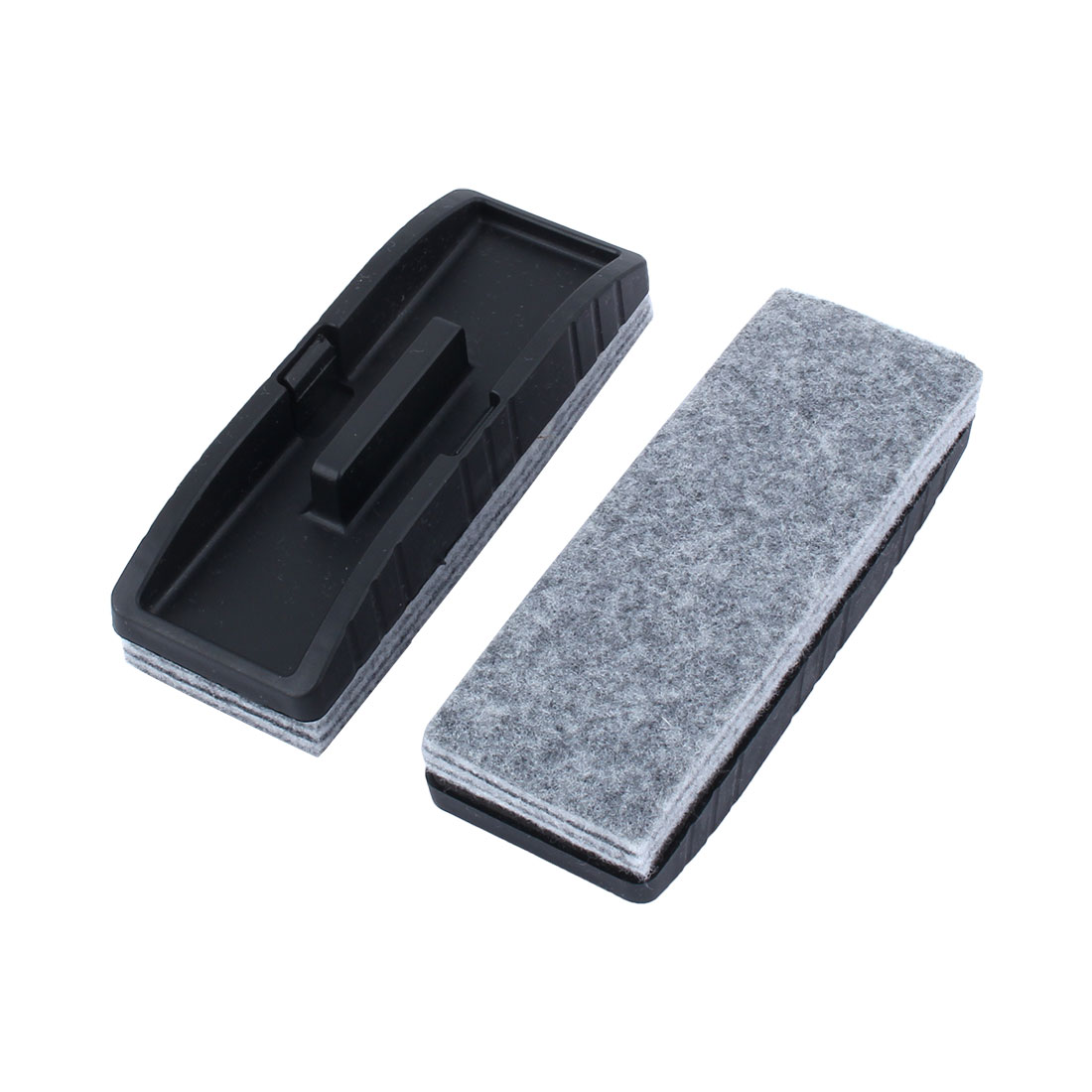 School Teaching Plastic Rectangle Blackboard Eraser Brush Stain Removal Black 2pcs