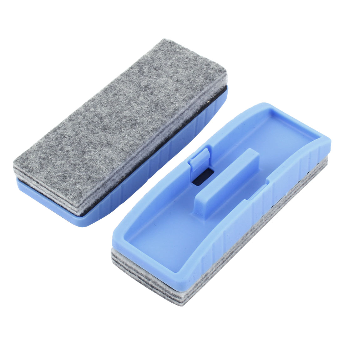 School Teaching Plastic Rectangle Blackboard Eraser Brush Stain Removal Blue 2pcs