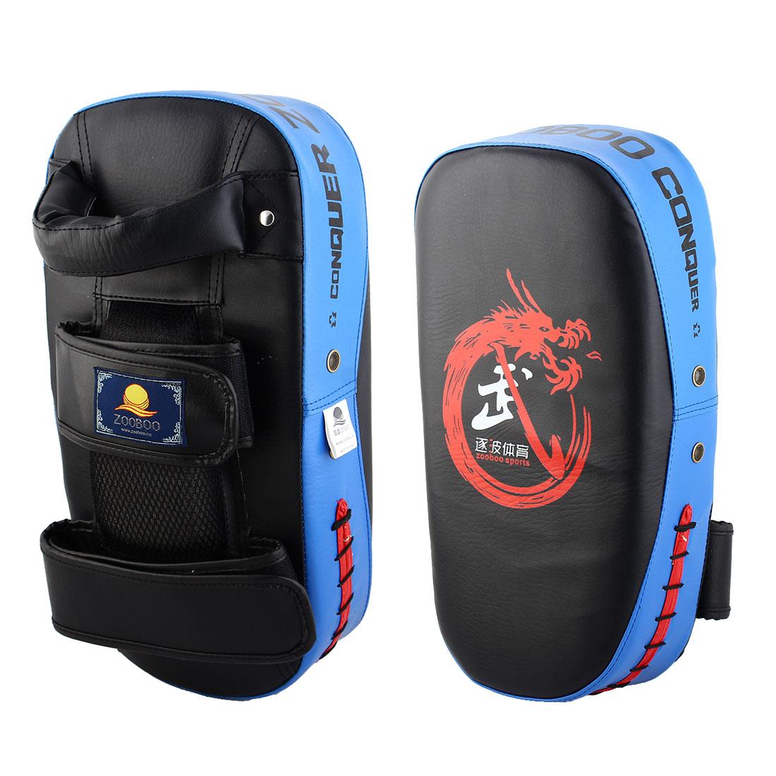 Dragon Print Target Punching Kicking Training Boxing Thai Pad Blue Pair