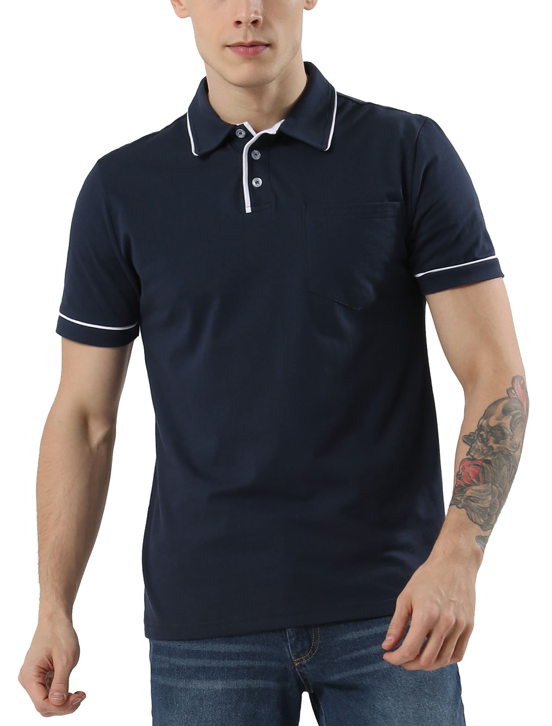 Men Color Block Chest Pocket Piping Short Sleeves Polo Shirt Navy Blue Large
