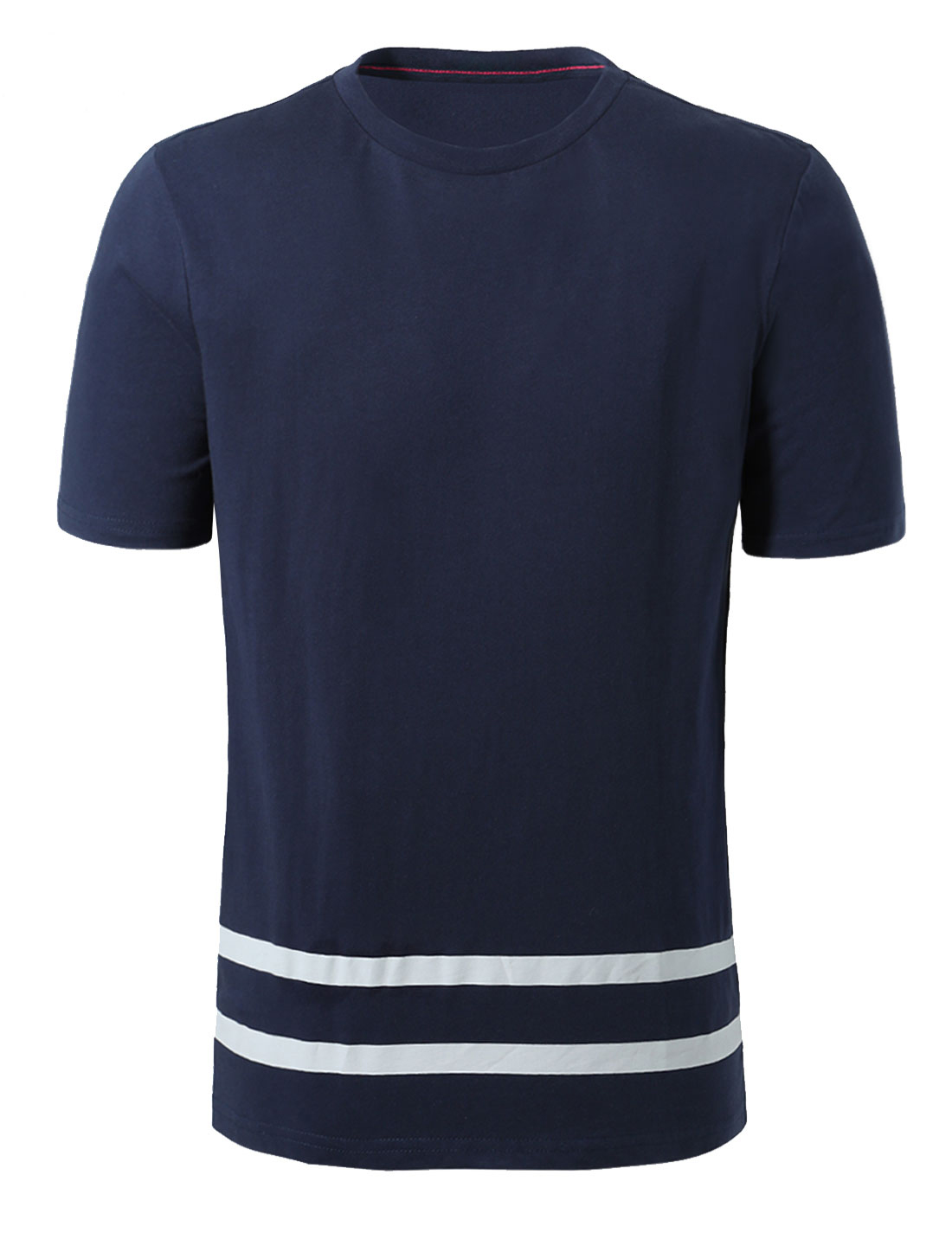 Men Short Sleeves Round Neck Striped Hem Cotton T-Shirt Navy Blue L