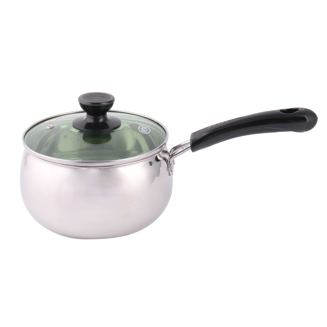 Restaurant Kitchenware Plastic Handle Stainless Steel Food Milk Soup Pot Pan Silver Tone