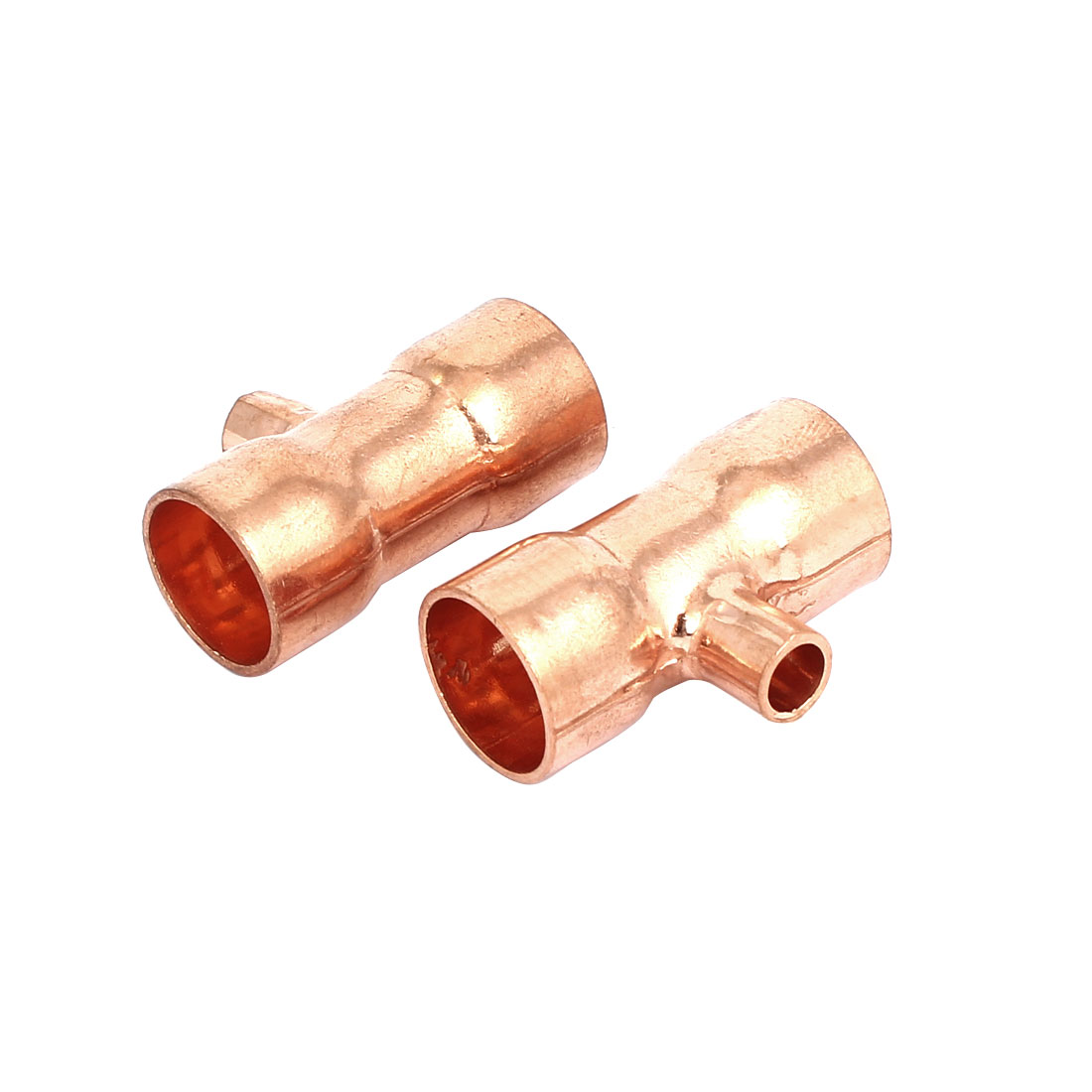 16mmx6.35mm Copper Tee Reducing Fitting Air Conditioner Plumbing Accessory 2pcs