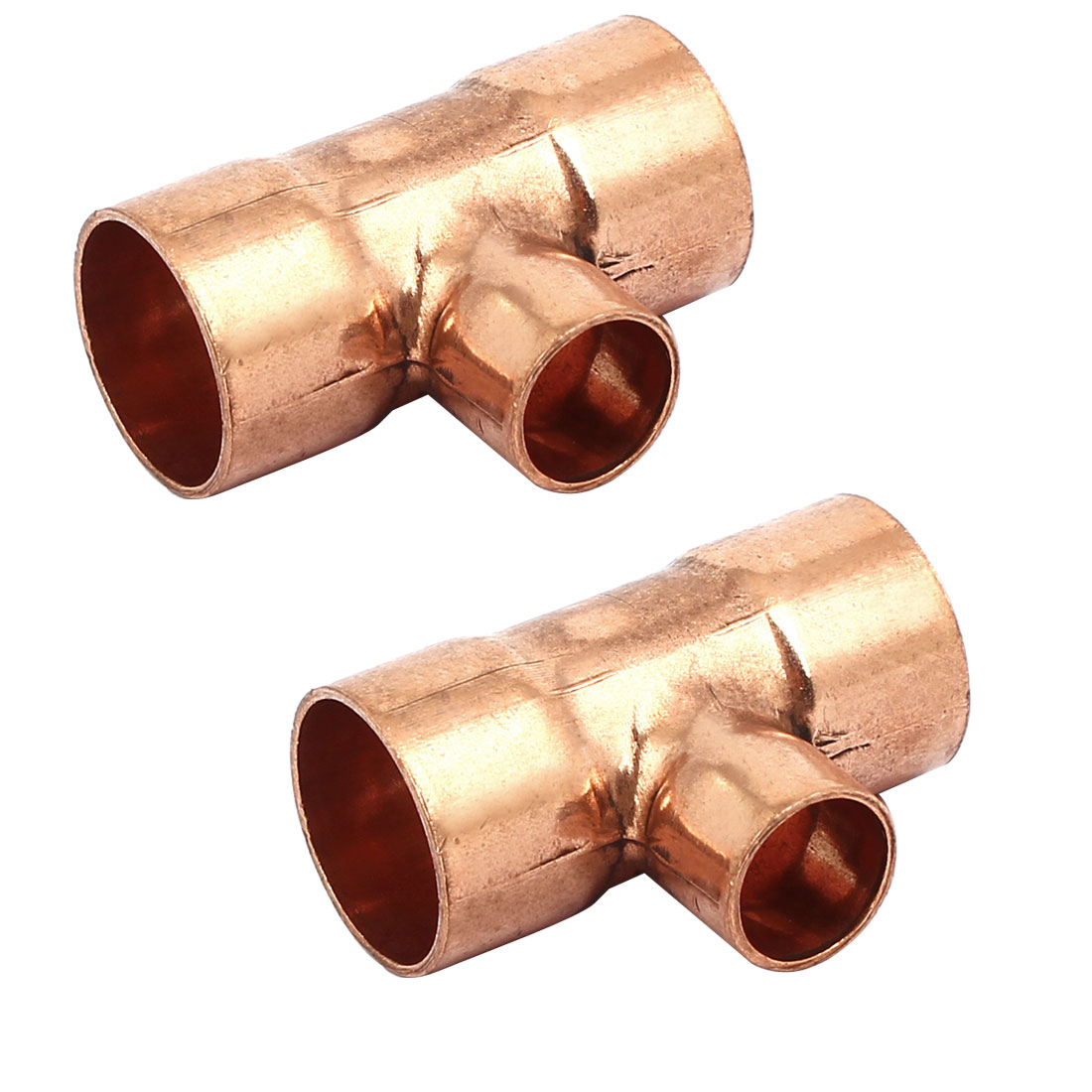 16mmx10mm Copper Tee Reducing Fitting Air Conditioner Plumbing Accessory 2pcs