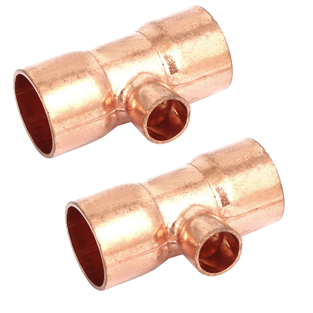 19mmx10mm Copper Tee Reducing Fitting Air Conditioner Plumbing Accessory 2pcs