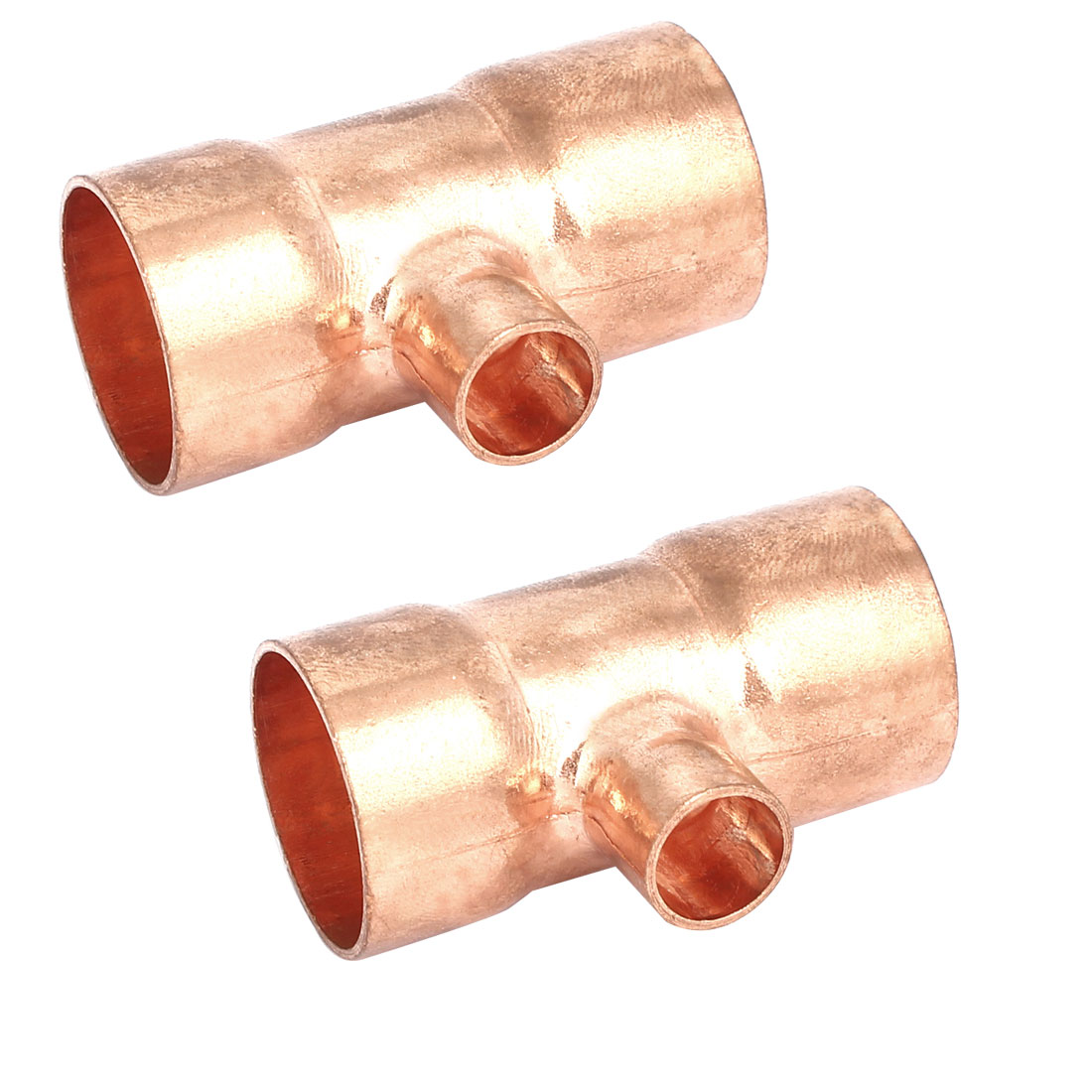 28.6mmx12.7mm Copper Tee Reducing Fitting Air Conditioner Plumbing Accessory 2pcs