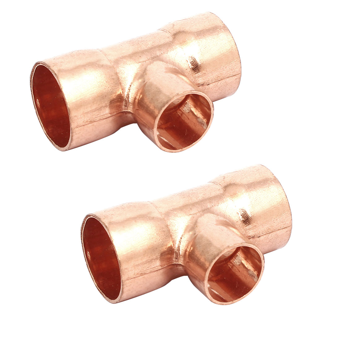 22mmx16mm Copper Tee Reducing Fitting Air Conditioner Plumbing Accessory 2pcs
