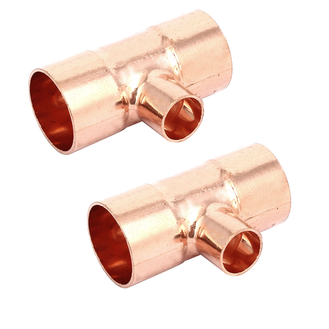 25mmx16mm Copper Tee Reducing Fitting Air Conditioner Plumbing Accessory 2pcs