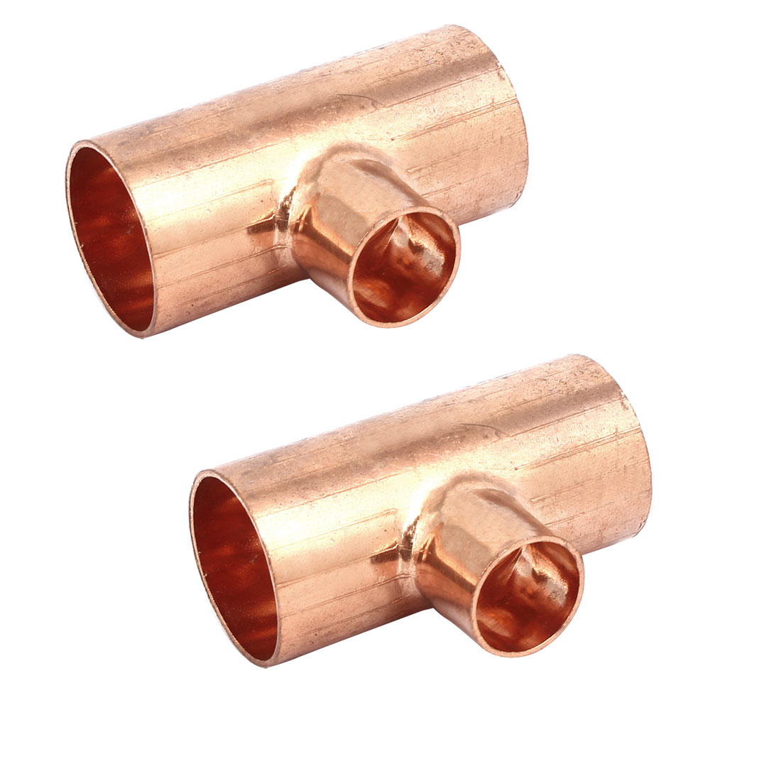 32mmx19mm Copper Tee Reducing Fitting Air Conditioner Plumbing Accessory 2pcs