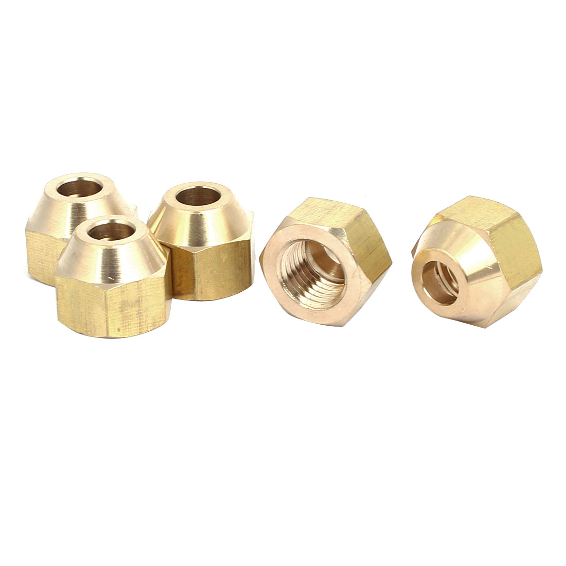 1/4BSP Brass Flare Nuts Air Conditioner Parts Fittings 5pcs for 6mm Dia Pipe
