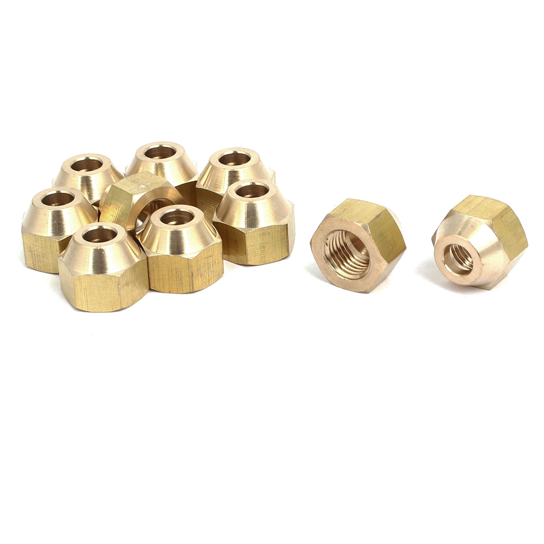 1/4BSP Brass Flare Nuts Air Conditioner Parts Fittings 10pcs for 6mm Dia Pipe