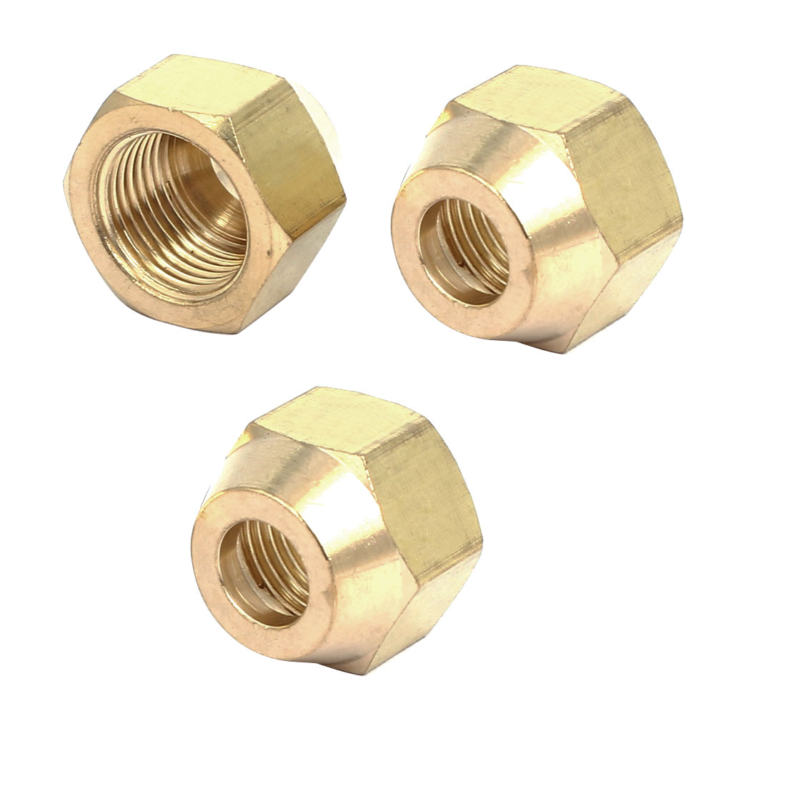 3/8BSP Brass Flare Nuts Air Conditioner Parts Fittings 3pcs for 10mm Dia Pipe