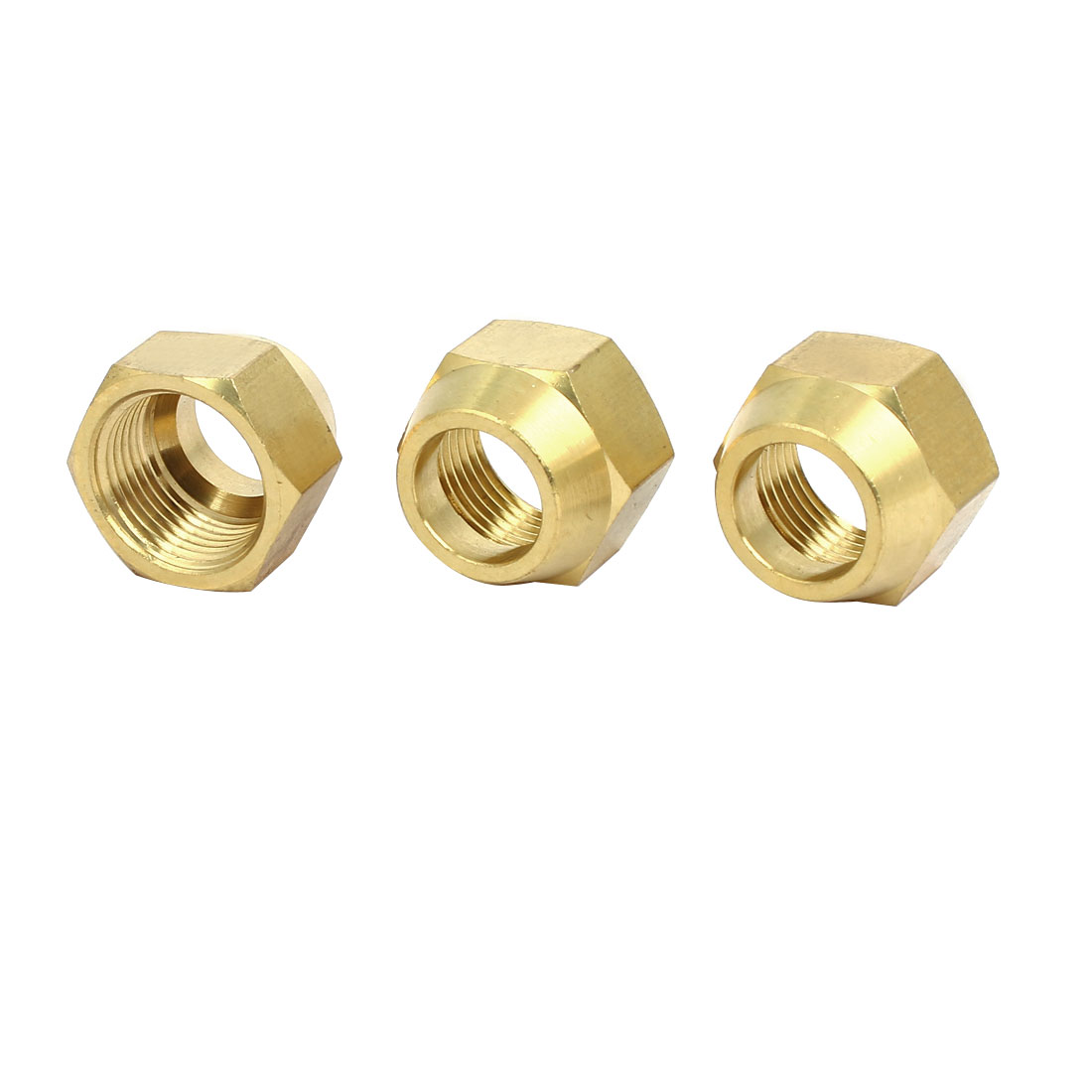 5/8BSP Brass Flare Nuts Air Conditioner Parts Fittings 3pcs for 16mm Dia Pipe