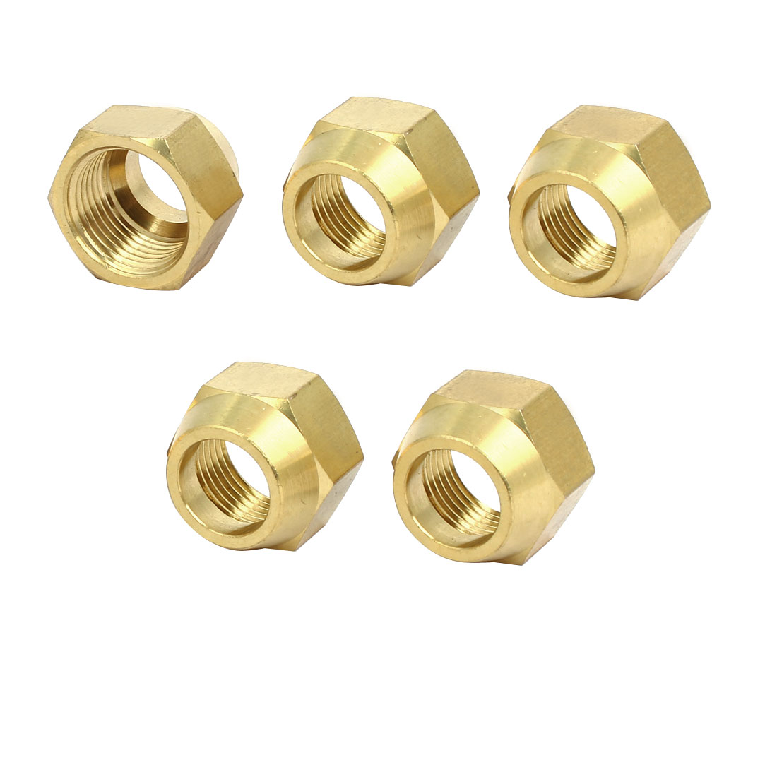 5/8BSP Brass Flare Nuts Air Conditioner Parts Fittings 5pcs for 16mm Dia Pipe