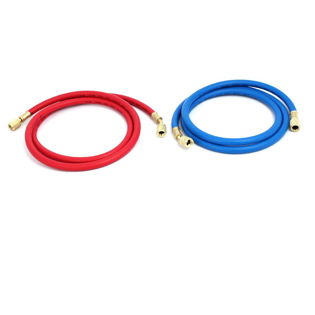 2pcs 1.36M 1/4NPT Refrigeration Charging Hose for AC Refrigerant R22 R134