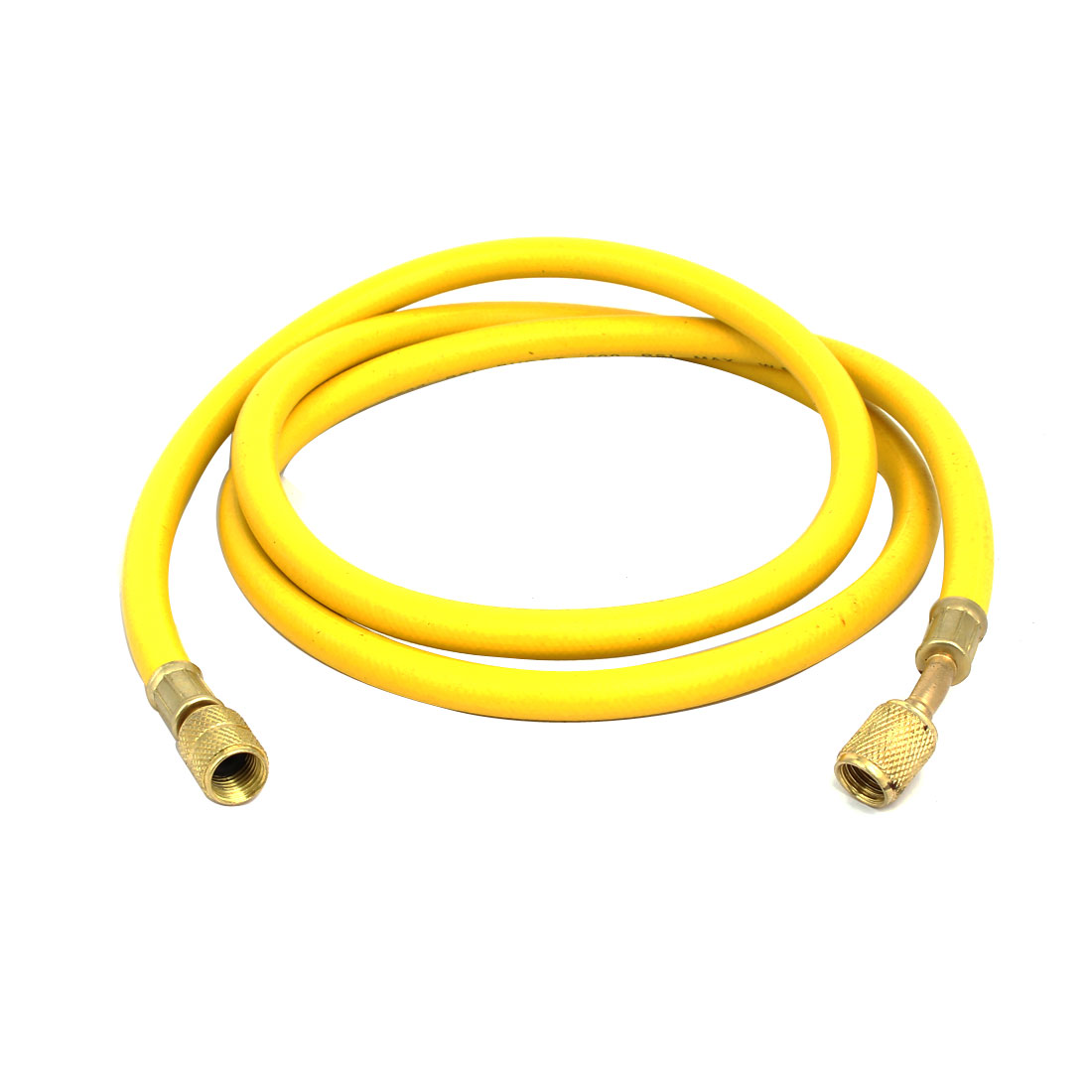 1.36M 1/4NPT to M12 Refrigeration Charging Hose Yellow for AC Refrigerant R22 R134