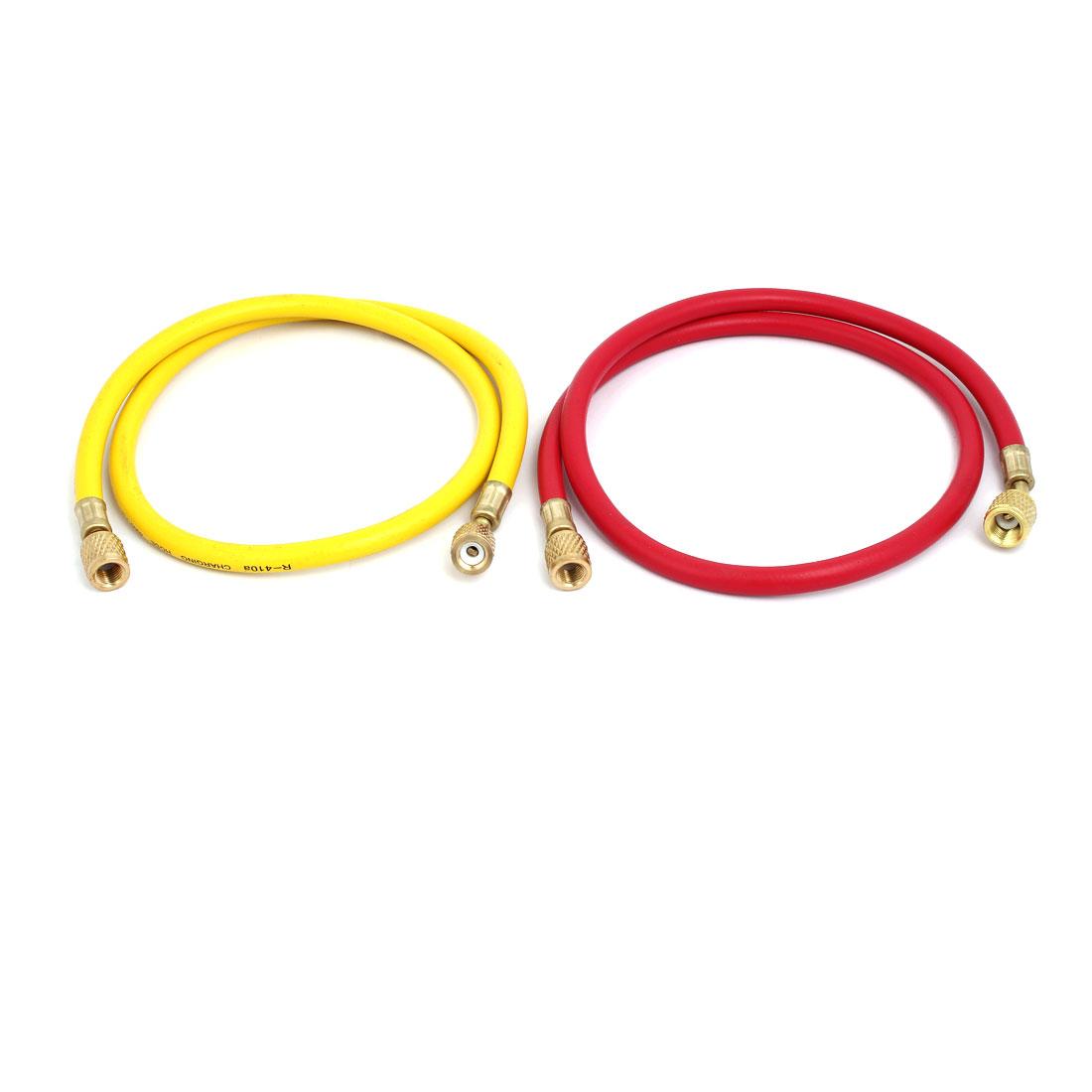 2pcs 0.93M 1/4NPT to M12 Refrigeration Charging Hose for AC Refrigerant R410