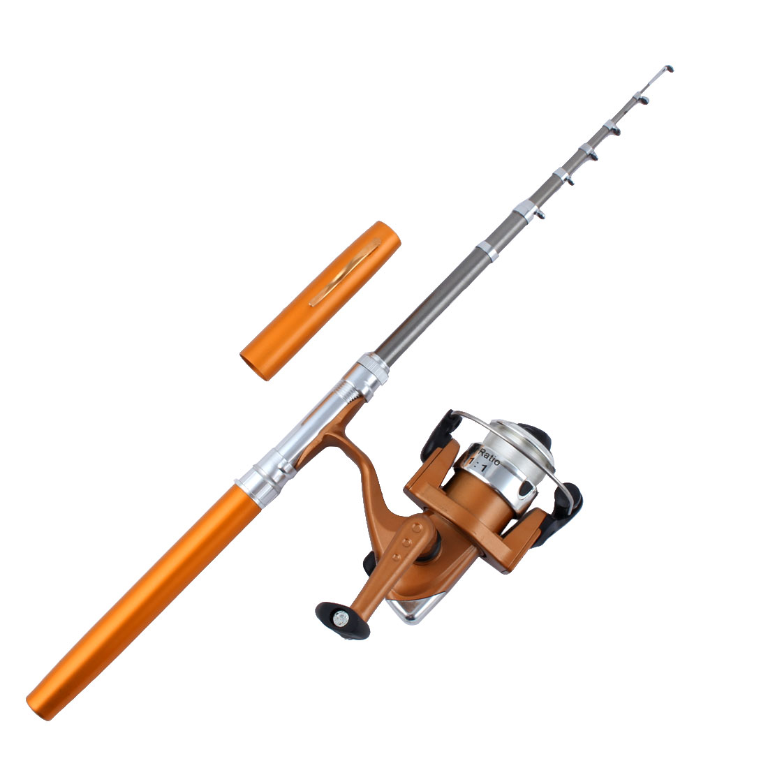 Fisherman Fibre Glass Telescopic Portable Mini Pocket Fishing Rod Spinning Reel Set Gold Tone