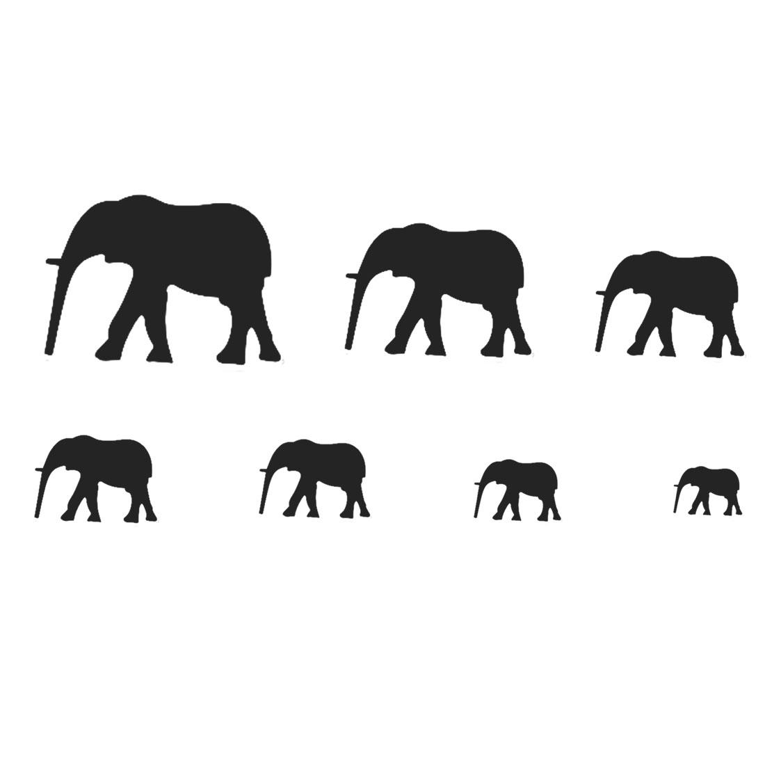 Home Acrylic Elephant Pattern Self-adhesive Protector Mirror Wall Sticker Black